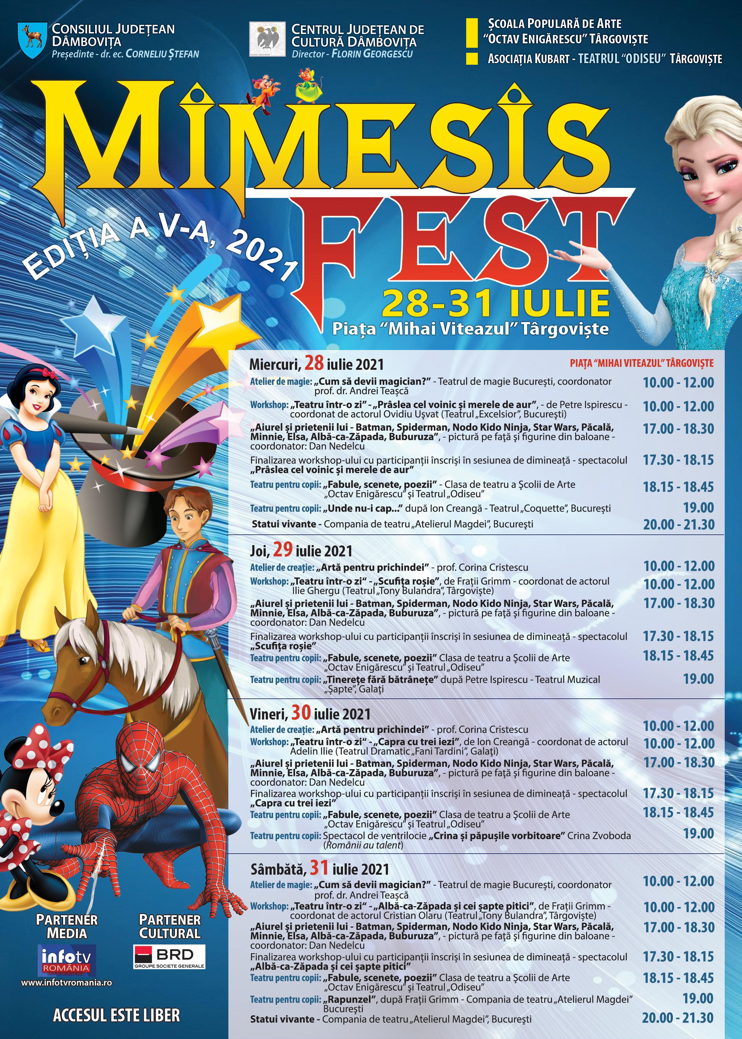 """În perioada  28 iulie – 31 iulie 2021, Centrul Judeţean de Cultură Dâmboviţa va organiza cea de-a V-a ediţie a festivalului de teatru pentru copii """"Mimesis Fest""""."""