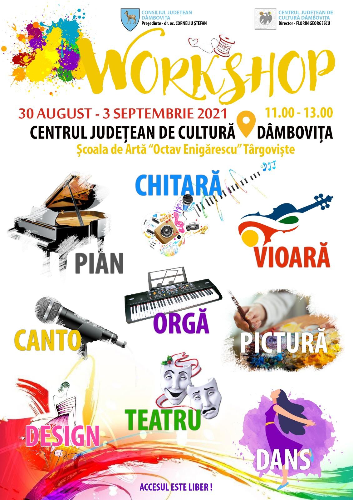 """Școala Populară de Arte """"Octav Enigărescu"""" va organiza, în perioada 30 august – 3 septembrie 2021, proiectul educațional """"Workshop-uri artistice"""""""